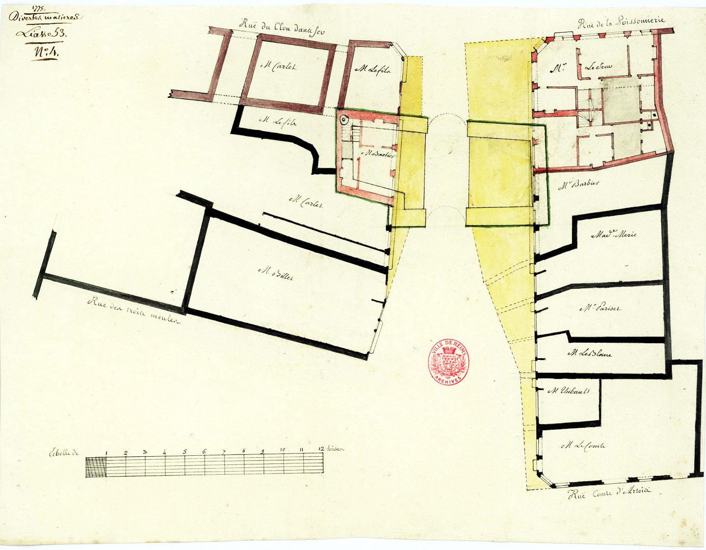 Plan de la porte saint denis et dune partie de maison lavée en jaune que lon propose de supprimer pour élargir le passage trop étroit 1775
