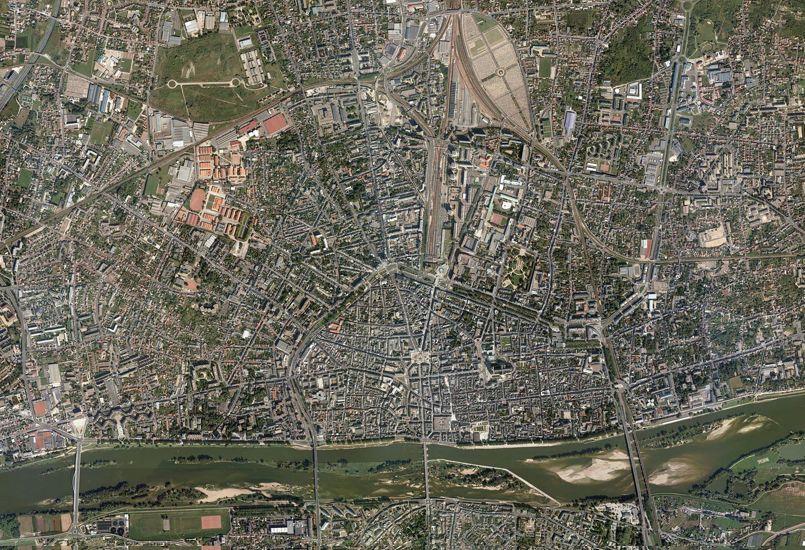 Archéologie de la ville d'Orléans, carte des sites de fouilles